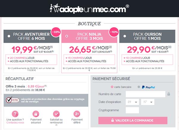 AdopteUnMec tarifs